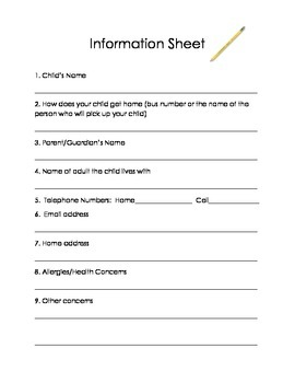 Beginning of the Year Information Sheet