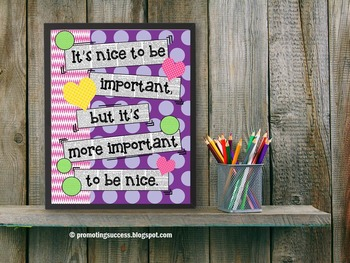 Classroom Rules It's More Important to Be Nice Poster { Cl