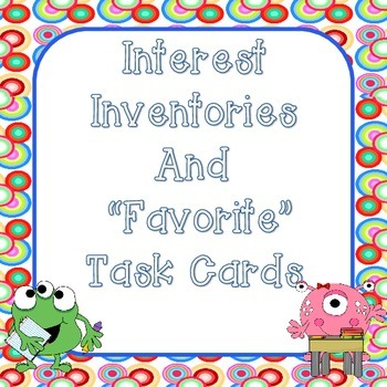 Monster Theme Beginning of the Year Interest Inventories and Task Cards