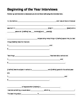 Beginning of the Year Interview Handout