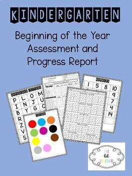 Beginning of the Year Kindergarten Assessment and Progress Report