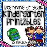 Beginning of Year Kindergarten Printables (FREEBIE in PREVIEW)