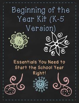 Beginning of the Year Kit (K-5): New School Year