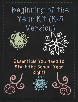 Beginning of the Year Kit (K-5): New School Year