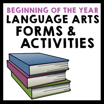 Beginning of the Year Language Arts Forms & Activities - Grades 5-8
