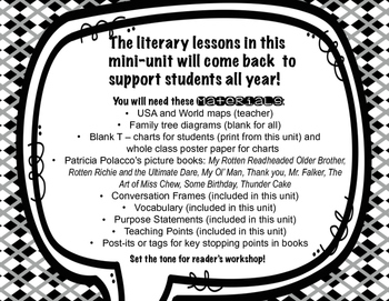 Beginning of the Year Lessons for Reader's Workshop Using Patricia Polacco B&W