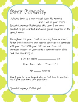 Beginning of the Year Letter
