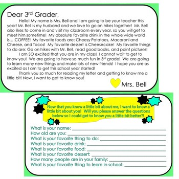 Beginning of the Year (Letter to Students and Interest Survey) *Editable*