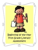 Beginning of the Year Literacy Assessment