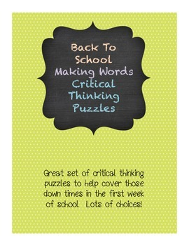 Beginning of the Year Making Words activities with Clues September Vocabulary