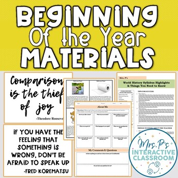 Beginning of the Year: Mini Syllabus, Passes, Quotes, About Me (DIGITAL OPTIONS)