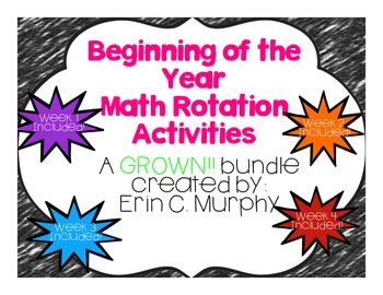 Beginning of the Year Math Activities GROWING Bundle