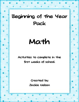 Beginning of the Year Math Activity Pack