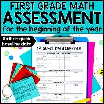 Beginning of the Year Math Assessment for 1st Grade