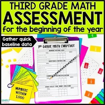 Beginning of the Year Math Assessment for 3rd Grade