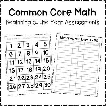 Beginning of the Year Math Assessments for Kindergarten