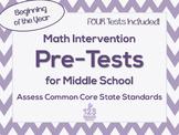 Middle School Math Intervention Pre-Assessments Bundle for Common Core
