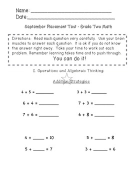 Beginning of the Year Math Pre-Assessment