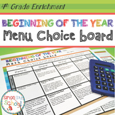 Beginning of the Year Math Review Choice Board – 4th Grade