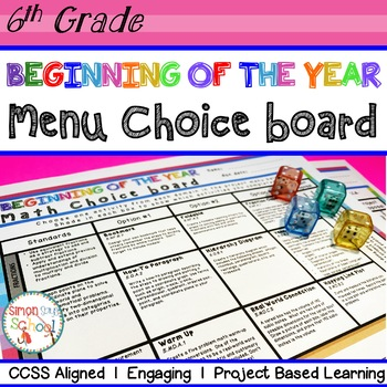 Beginning of the Year Math Review Choice Board – 6th Grade