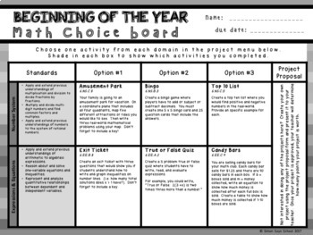 Beginning of the Year Math Review Choice Board – 7th Grade