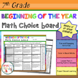 Beginning of the Year Math Review Choice Board – 7th Grade - Distance Learning