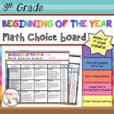 Beginning of the Year Math Review Choice Board – 8th Grade