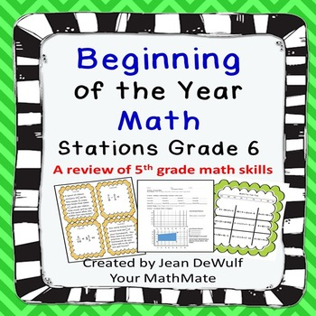 Beginning of the Year Math Stations  Grade 6; a review of