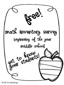 Beginning of the Year Math Survey for Middle School Students