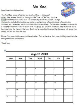 """Beginning of the Year Editable """"Me Box"""" Activity"""