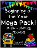 Beginning of the Year Mega Pack Math and Literacy Activities
