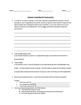 Beginning of the Year Middle School Expectations & Procedures Quiz