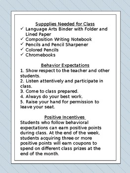 First Week Classroom Policies and Procedures Packet (Editable)