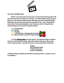 Beginning of the Year Movie Theme Behavior Letter