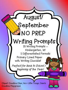 Monthly NO PREP Journal Writing Prompts AUGUST SEPTEMBER B