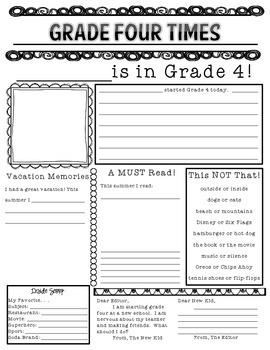 Beginning of the Year Newspaper - Grade 4