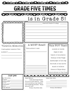 Beginning of the Year Newspaper - Grade 5