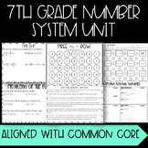 Number System Unit - Grade 7 - Common Core Aligned