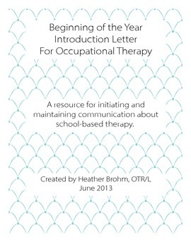 Beginning of the Year - Occupational Therapy Communication