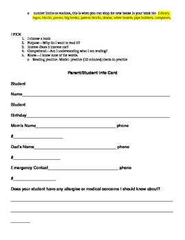 Beginning of the Year Packet