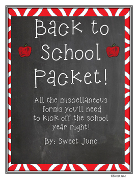 Back to School Packet - Apple Theme