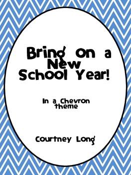 Beginning of the Year Packet - Chevron Theme