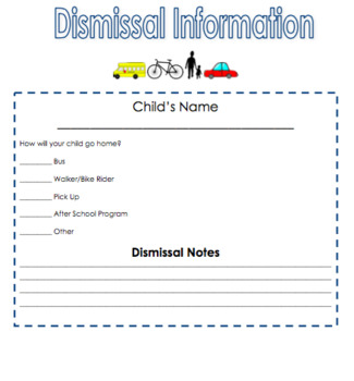 Beginning of the Year Packet of Essential Forms