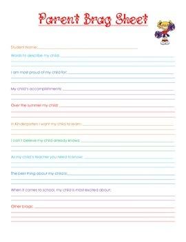 Beginning of the Year Parent Brag Sheet