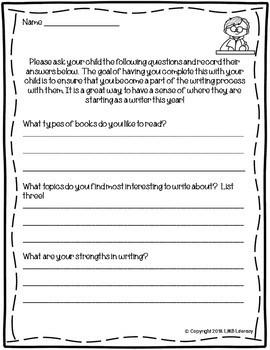 Beginning of the Year Parent/Child ELA/Writing Survey-In English AND Spanish!