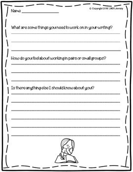 Back to School Take Home Writing Survey-In English and Spanish