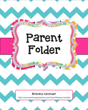 Beginning of the Year: Parent Folder Forms & Info. Sheets (Editable)