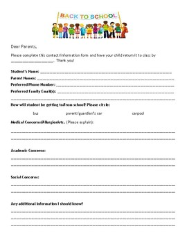 Beginning of the Year Parent Form