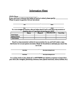 Beginning of the Year Parent Information Sheet