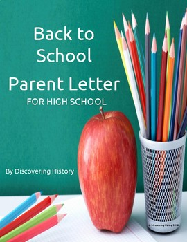 Back to School Parent Letter for High School